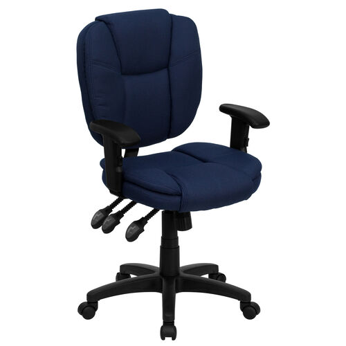 Our Mid-Back Navy Blue Fabric Multifunction Swivel Ergonomic Task Office Chair with Pillow Top Cushioning and Arms is on sale now.