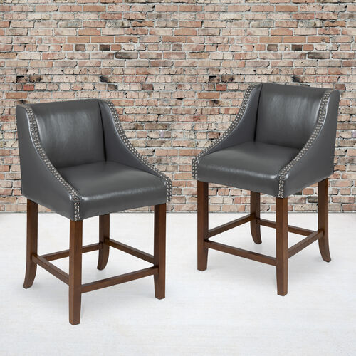 """Carmel Series 24"""" High Transitional Wood Counter Height Stool with Accent Nail Trim, Set of 2"""