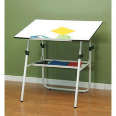 Ultima Height Adjustable Fold-A-Way Drafting Table with Removable Storage Tray - White