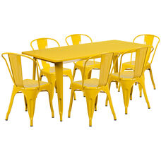 "Commercial Grade 31.5"" x 63"" Rectangular Yellow Metal Indoor-Outdoor Table Set with 6 Stack Chairs"