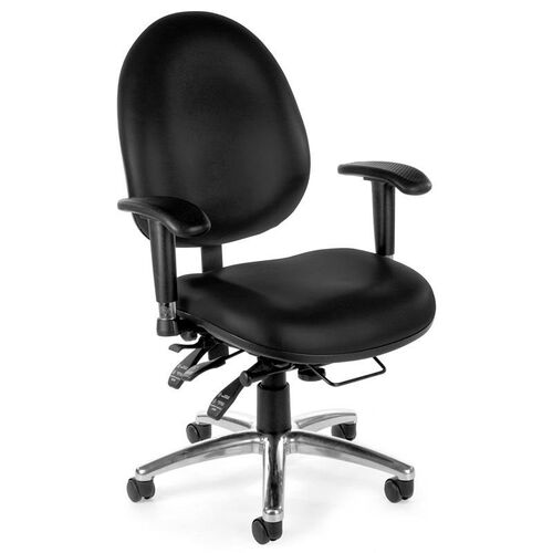 24 Hour Big & Tall Anti-Microbial and Anti-Bacterial Vinyl Task Chair - Black