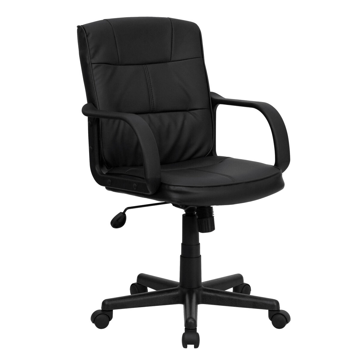 Our Mid Back Black Leather Swivel Task Office Chair With Arms Is On Now