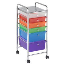 6 Drawer Mobile Organizer with Chrome-Plated Top Shelf and Assorted Colors Pullout Drawers