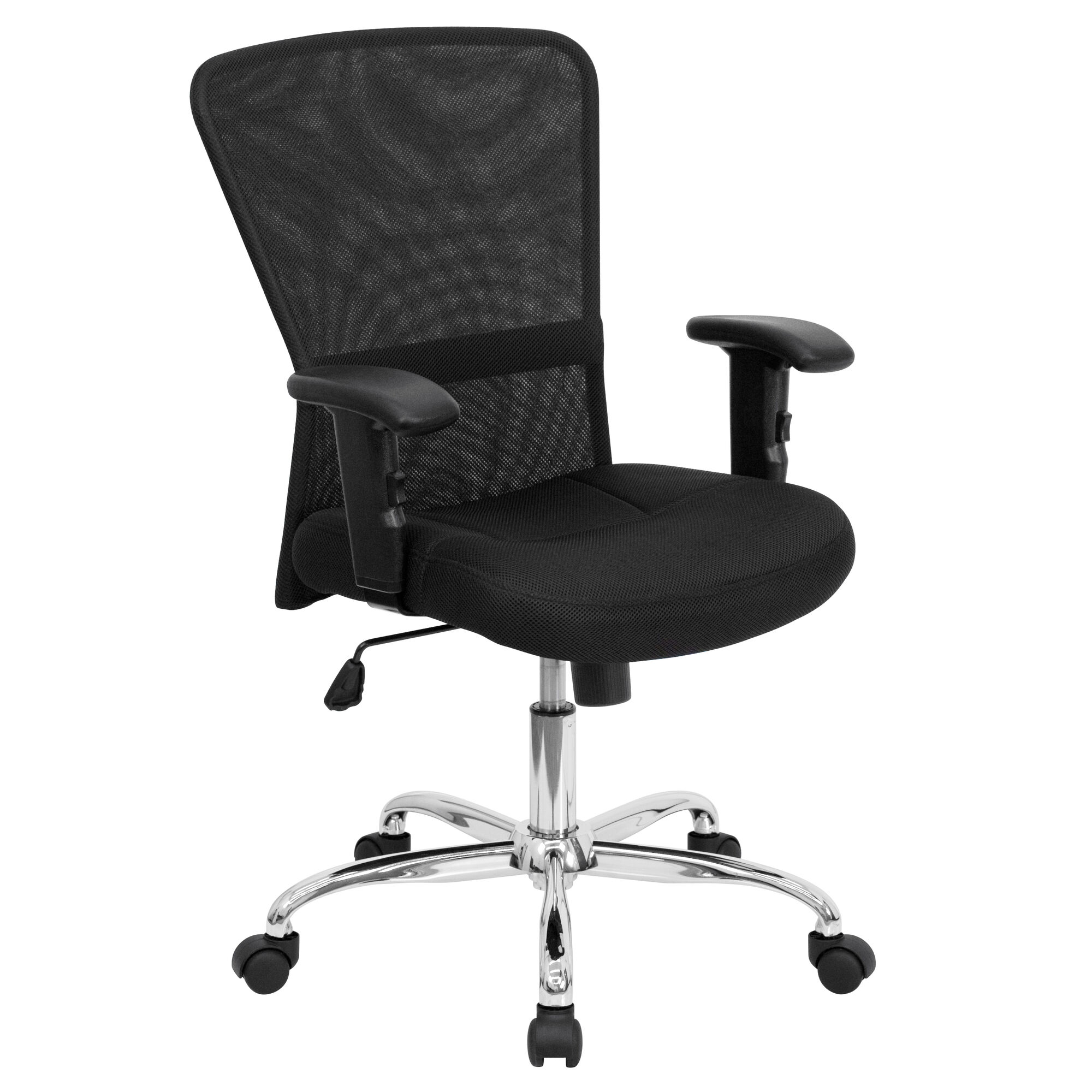 Fabulous Mid Back Black Mesh Contemporary Swivel Task Office Chair With Chrome Base And Adjustable Arms Home Interior And Landscaping Transignezvosmurscom