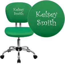 Embroidered Mid-Back Bright Green Mesh Padded Swivel Task Office Chair with Chrome Base