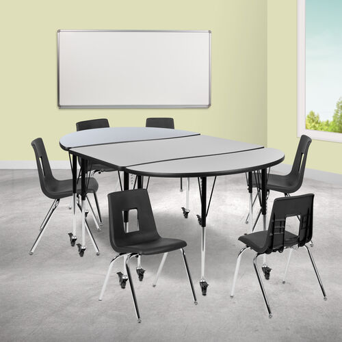 """Mobile 76"""" Oval Wave Collaborative Laminate Activity Table Set with 18"""" Student Stack Chairs, Grey/Black"""