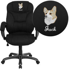 Embroidered High Back Black Microfiber Contemporary Executive Swivel Ergonomic Office Chair with Arms