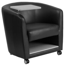 Black LeatherSoft Guest Chair with Tablet Arm, Front Wheel Casters and Under Seat Storage