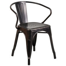Commercial Grade Black-Antique Gold Metal Indoor-Outdoor Chair with Arms