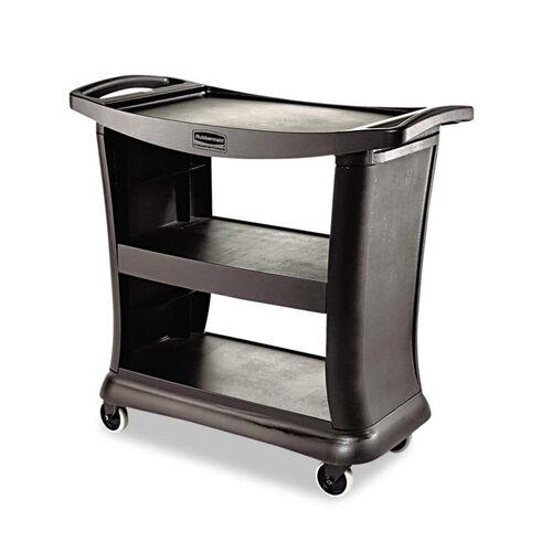 Rubbermaid® Commercial Executive Service Cart - Three-Shelf - 20-1/3w x 38-9/10d - Black