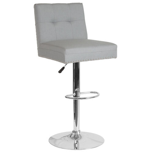 Our Ravello Contemporary Adjustable Height Barstool with Accent Nail Trim in Light Gray Fabric is on sale now.