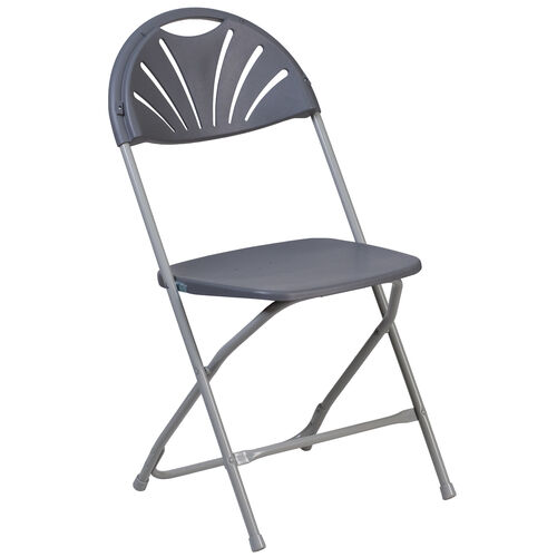 Our HERCULES Series 650 lb. Capacity Charcoal Plastic Fan Back Folding Chair is on sale now.