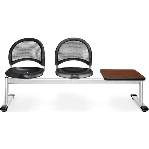 Our Moon 3-Beam Seating with 2 Black Plastic Seats and 1 Table - Cherry Finish is on sale now.