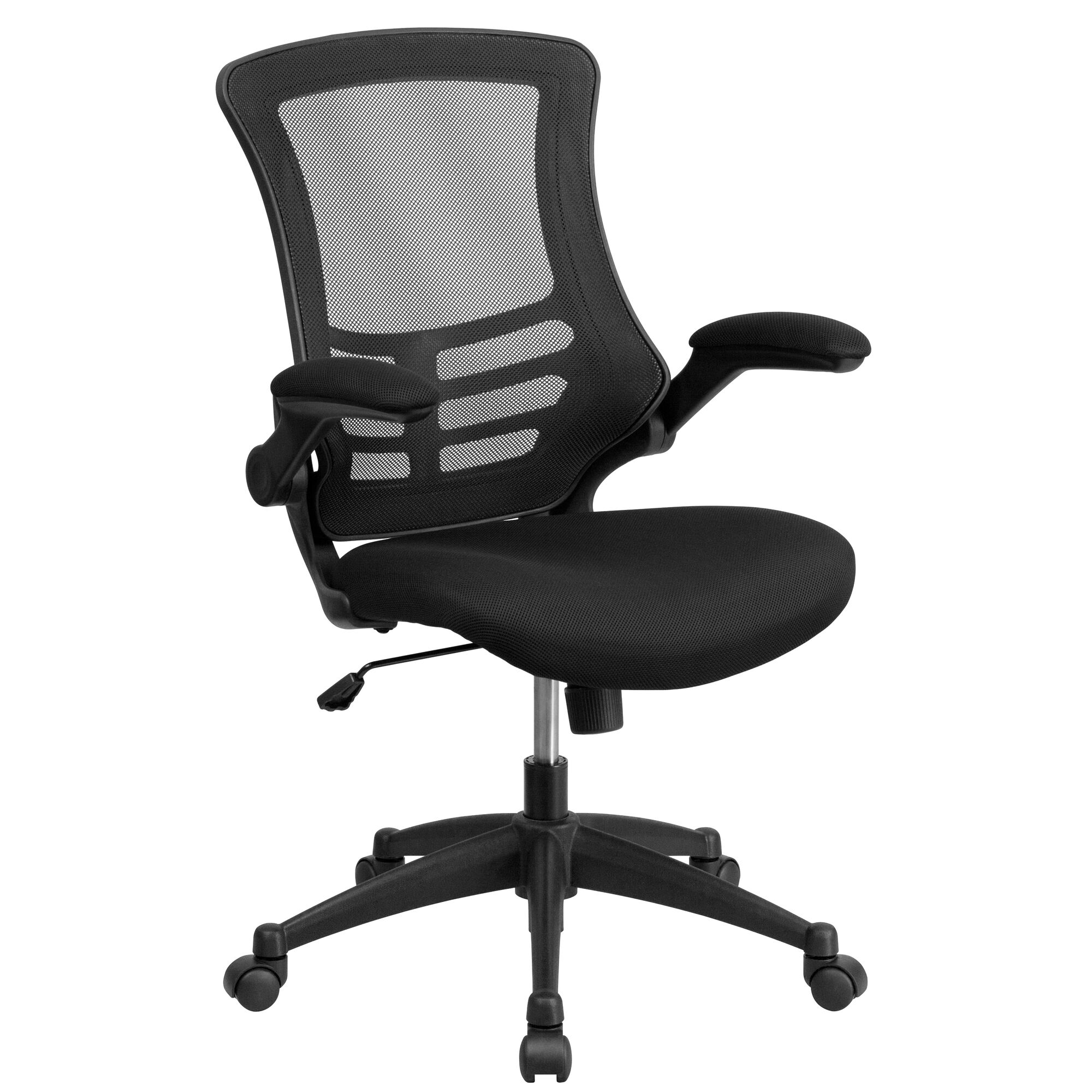 Baseball desk chair - Mid Back Black Mesh Swivel Task Chair With Flip Up Arms