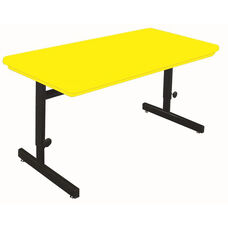 Blow-Molded Plastic Top Adjustable Height Rectangular Computer Station - 24