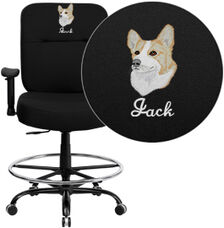 Embroidered HERCULES Series Big & Tall 400 lb. Rated Black Fabric Ergonomic Draft Chair with Adjustable Arms