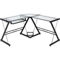 OneSpace Ultramodern Glass L-Shape Desk - Black and Clear