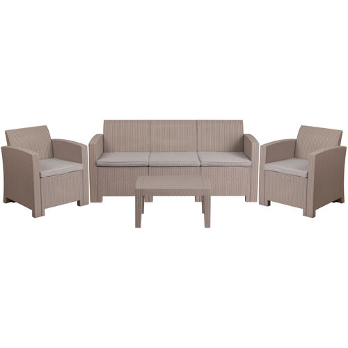 Our 4 Piece Outdoor Faux Rattan Chair, Sofa and Table Set in Light Gray is on sale now.