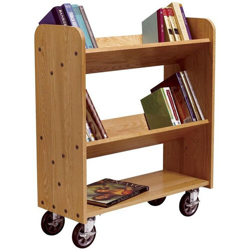 Solid Oak Mobile Book Truck with 1 Flat and 2 Sloped Shelves - 32