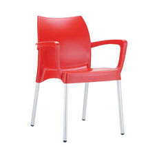 Domenica Lightweight Stackable Arm Chair with Aluminum Legs - Red