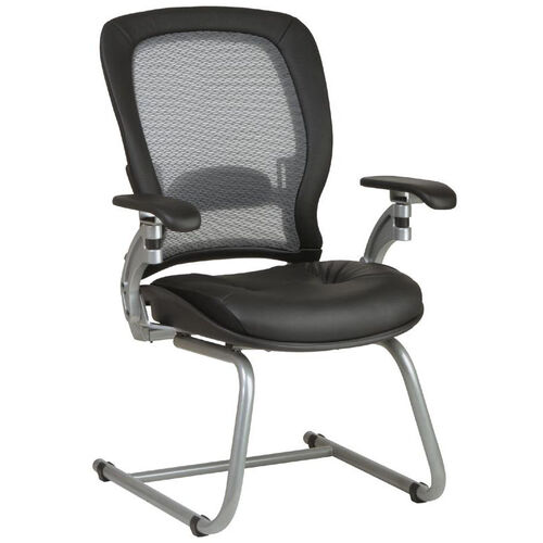 Space Light Air Grid Back Visitors Chair with LeatherSeat and Platinum Finish Sled Base