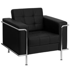 HERCULES Lesley Series Contemporary Black LeatherSoft Chair with Encasing Frame