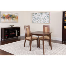 Coventry 3 Piece Walnut Wood Dining Table Set with Curved Slat Wood Dining Chairs - Padded Seats