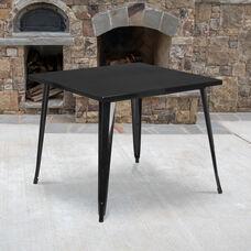 "Commercial Grade 35.5"" Square Black Metal Indoor-Outdoor Table"
