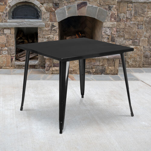 """Our Commercial Grade 35.5"""" Square Metal Indoor-Outdoor Table is on sale now."""