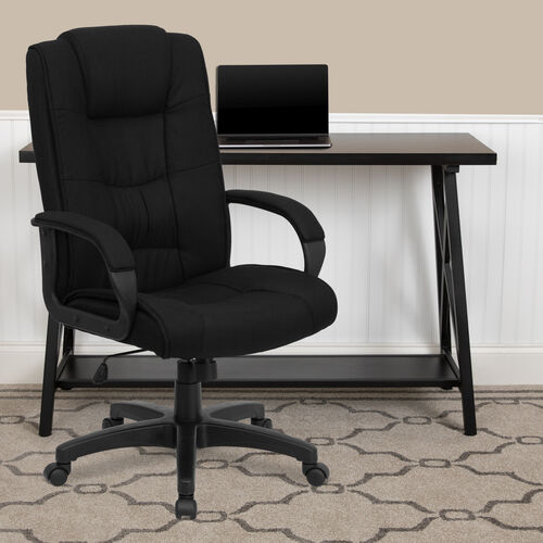 High Back Multi-Line Stitch Upholstered Executive Swivel Office Chair with Arms