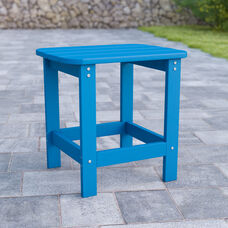 Charlestown All-Weather Poly Resin Wood Adirondack Side Table in Blue