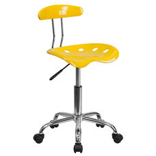 Vibrant Orange-Yellow and Chrome Swivel Task Office Chair with Tractor Seat