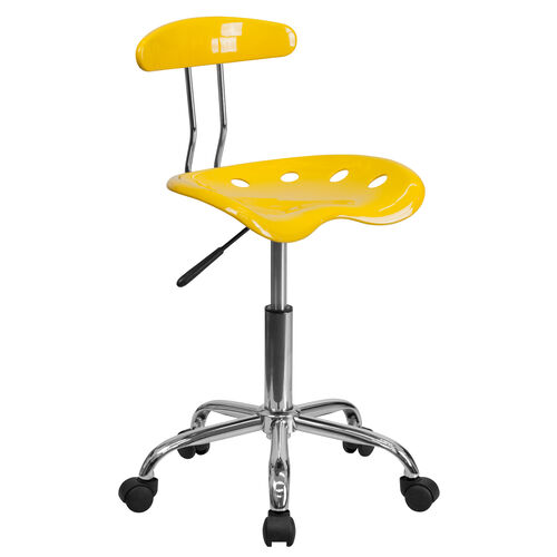 Our Vibrant Orange-Yellow and Chrome Swivel Task Office Chair with Tractor Seat is on sale now.