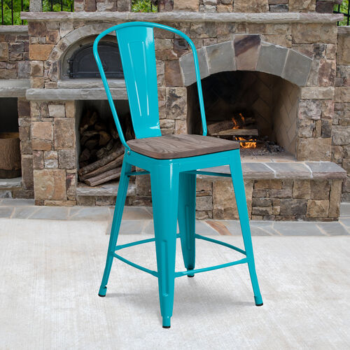 "Our 24"" High Crystal Teal-Blue Metal Counter Height Stool with Back and Wood Seat is on sale now."