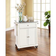 Solid Granite Top Portable Kitchen Island with Casters - White Finish