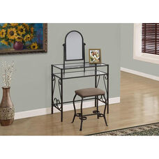 Metal 2 Piece Vanity Set with Tempered Glass Top - Brown