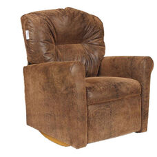 Kids Micro-Suede Contemporary Rocker Recliner with Tufted Back - Brown Bomber