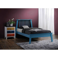 Marlton Wooden Bed with Vertical Slat Headboard - Queen - Blue