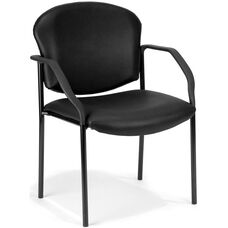 Manor Anti-Microbial and Anti-Bacteria Vinyl Guest and Reception Chair with Arms - Black Vinyl
