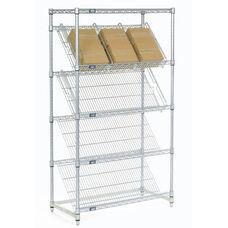 Chrome Slant Shelf Merchandiser Cart Unit - 24