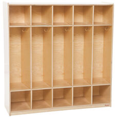 Wooden 5 Section Open Locker Unit with Coat Hooks and Cubby Storage - 54