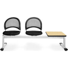 Moon 3-Beam Seating with 2 Black Fabric Seats and 1 Table - Oak Finish