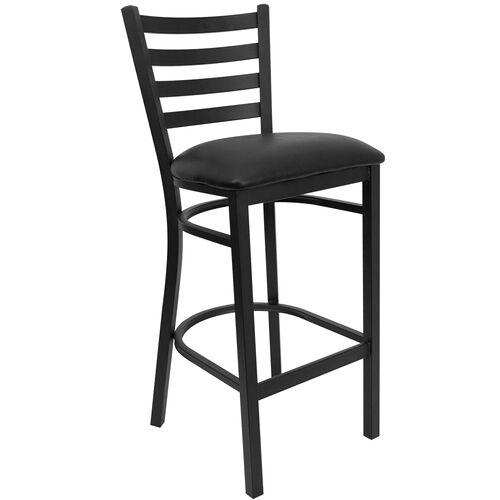 Our HERCULES Series Black Ladder Back Metal Restaurant Barstool - Black Vinyl Seat is on sale now.