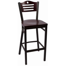 Eagle Series Wood Back Armless Barstool with Steel Frame and Wood Seat - Mahogany