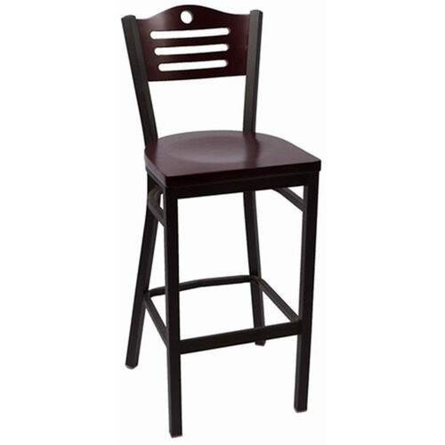 Our Eagle Series Wood Back Armless Barstool with Steel Frame and Wood Seat - Mahogany is on sale now.