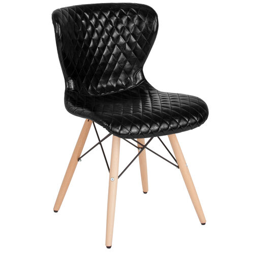 Our Riverside Contemporary Upholstered Chair with Wooden Legs in Black Vinyl is on sale now.