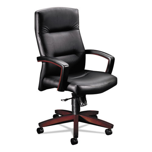 Our HON® 5000 Series Executive High-Back Swivel/Tilt Chair - Black Leather/Mahogany is on sale now.