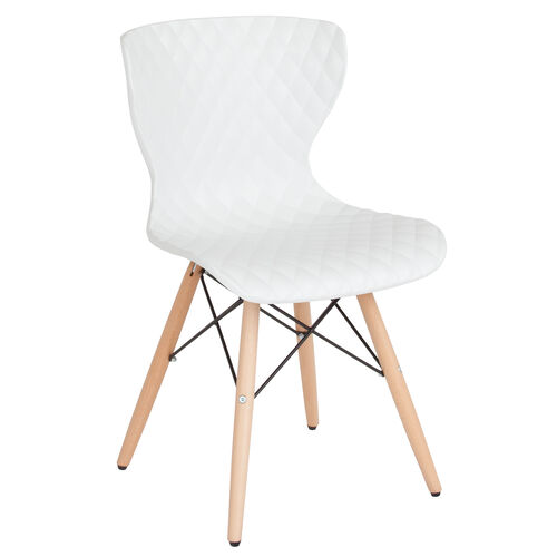 Our Bedford Contemporary Design White Plastic Chair With Wooden Legs Is On Now