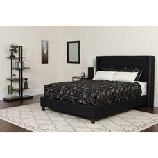 Riverdale Full Size Tufted Upholstered Platform Bed in Black Fabric with Pocket Spring Mattress