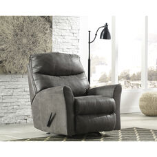 Signature Design by Ashley Tullos Rocker Recliner in Slate Faux Leather